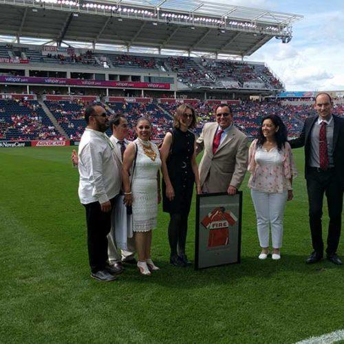 Dr Gilberto Munoz & Dr Teresa Cvengros at Chicago Fire Soccer Award Ceremony